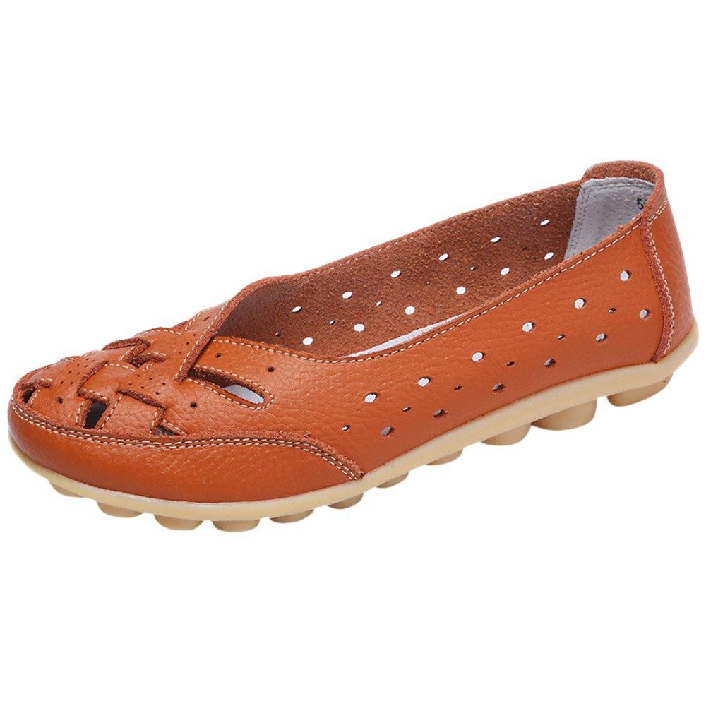 Kauneus Women's Cowhide Leather Shoes Loafers Flats Sandals Slip-On Cutout Orange by Kauneus Fashion Shoes