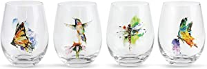 DEMDACO Dean Crouser Nature Butterfly Hummingbird Dragonfly Watercolor On Clear 5 x 4 Glass Stemless Wine Glasses Set of 4