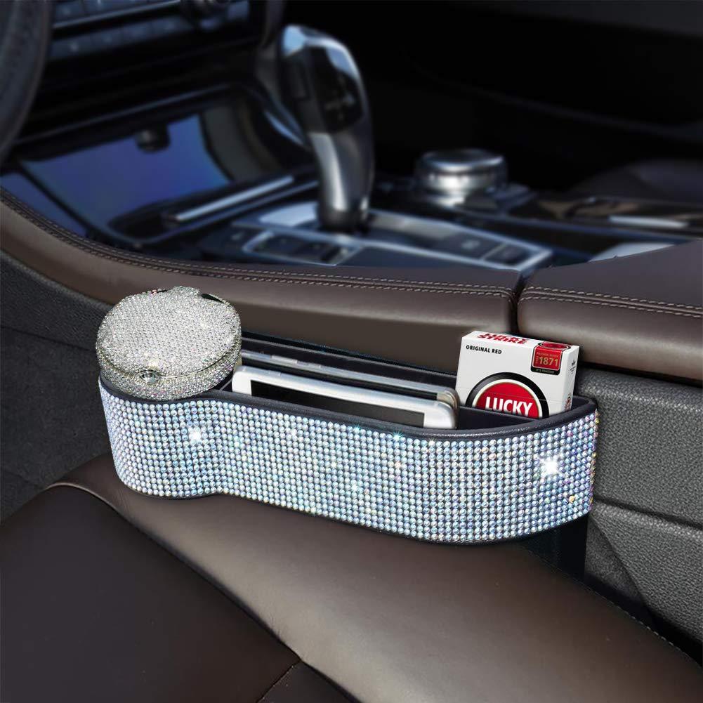 eing Bling Crystal Car Seat Catcher Gap Filler Organizer Side Slit Pocket Coin Side Pocket Console Side Pocket Car Organizer Storage Box by eing