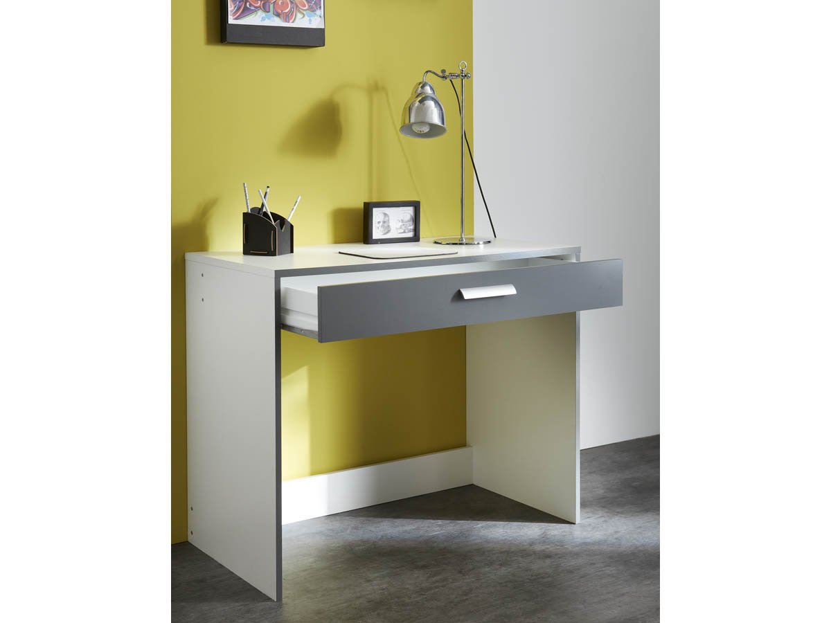 Demeyere george bureau avec tiroir blanc gris graphite x