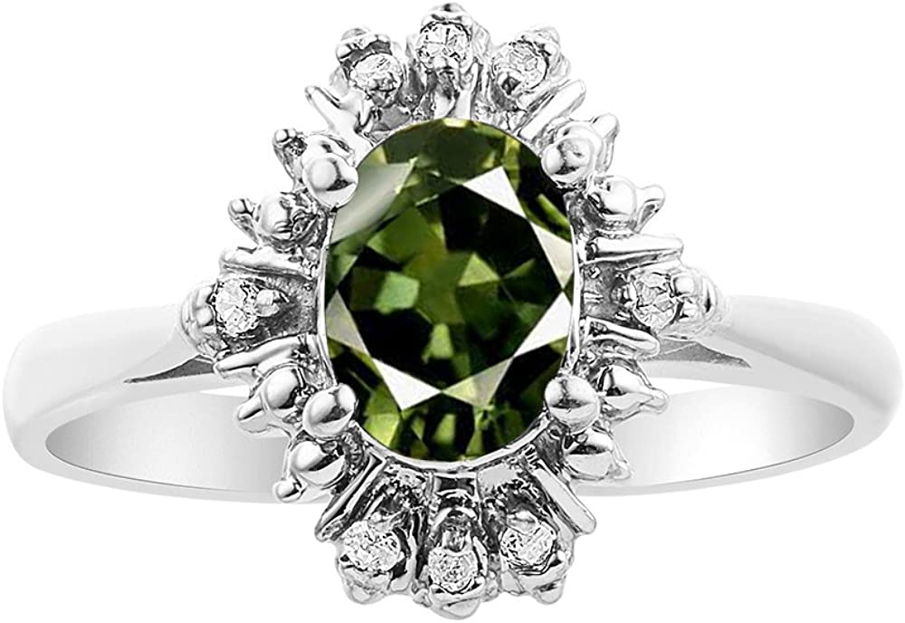Diamond /& Green Sapphire Ring Set In Sterling Silver Fanned Diamonds
