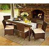 Portfolio Aldrich Brown Indoor/Outdoor 7-piece Rectangle Dining Set with Beige Cushions ()
