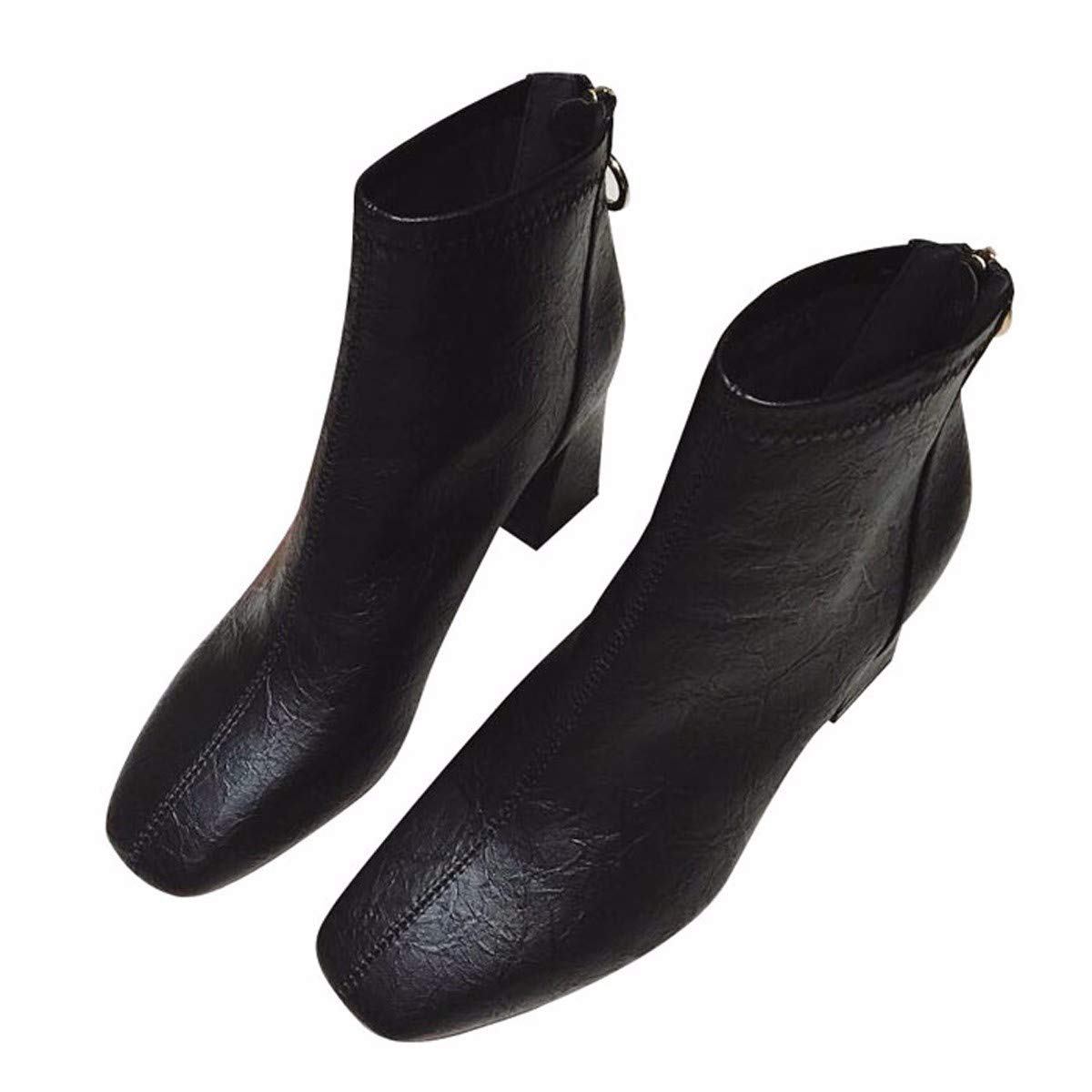 HBDLH Damenschuhe Im Winter Chelsea Stiefel Heel 7 cm Dicke Sohle 100 Sätze Retro Martin Stiefel