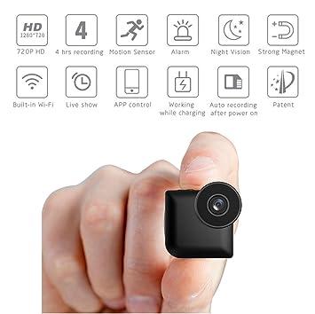 Mini Cámara Espía Inalámbrica Oculta HD 720P Cámaras De Seguridad Espía Domésticas Interiores Pequeñas para Coche De Oficina Niñera Cámara: Amazon.es: ...