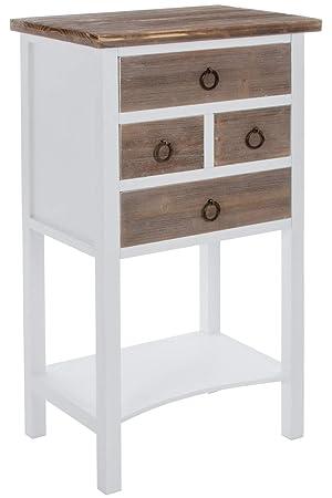 Elbmobel Kommode Telefontisch In Braun Weiss Tisch Aus Holz Mit 4