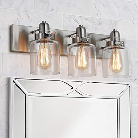 Amazon Com Bestier Modern Brushed Nickel 3 Light Bath Bathroom Vanity Wall Mounted Light Wall Sconce 3 E26 Led Bulbs Required Length 21 7 Inch Width 7 Inch Height 8 3 Inch Home Improvement