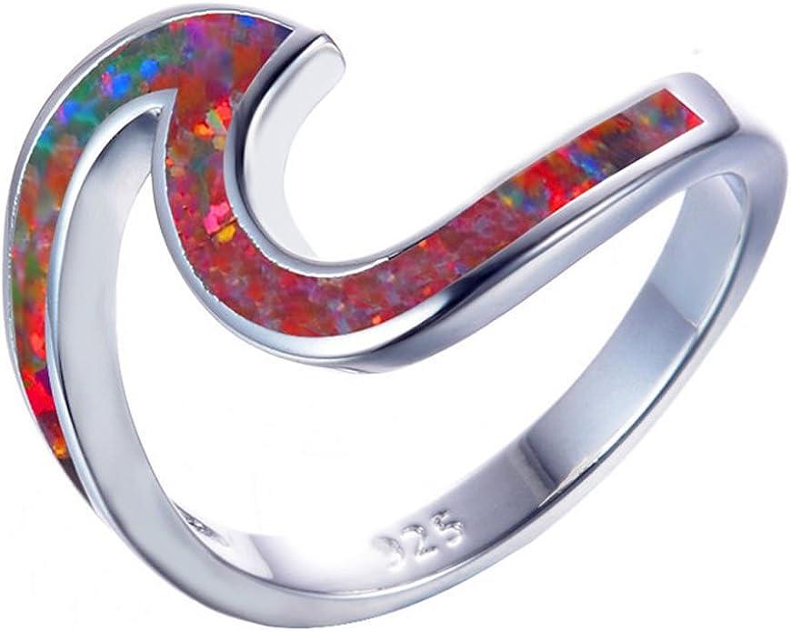 FJT Jewel White Fire Opal Flower Rings Blue Zircon Vintage Jewelry for Women Wedding Engagement Rings