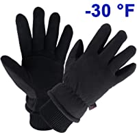Winter Gloves Water Resistant Deerskin Suede Leather Thermal Glove Insulated Polar Fleece for Driving/Cycling/Outdoor Work in Cold Weather Best Warm Gifts for Men and Women