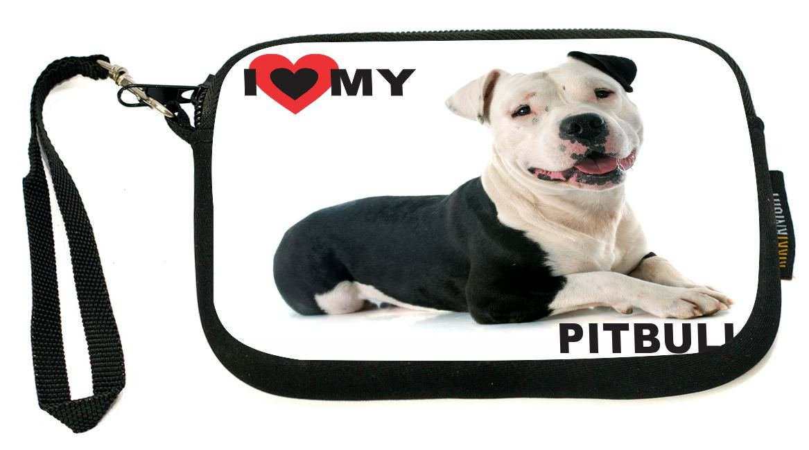 UKBK I Love My Black and White Pitbull Dog Neoprene Clutch Wristlet with Safety Closure - Ideal case for Camera, Universal Cell Phone Case etc..