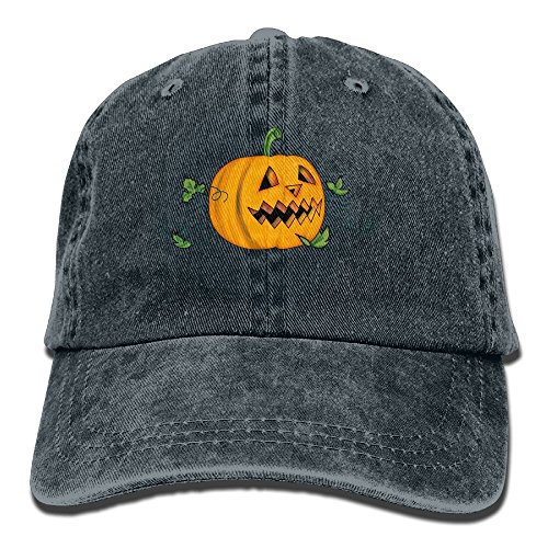 Qbeir Halloween Creepy Pumpkin Adjustable Adult Cowboy Denim Hat Sunscreen Fishing Outdoors Retro Visor Cap -