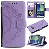 Galaxy A3 2015 Floral Wallet Case,Galaxy A3 2015 Strap Flip Case,Leecase Embossed Totem Flower Design Pu Leather Bookstyle Stand Flip Case for Samsung Galaxy A3 2015-Purple