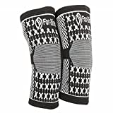 ForKnees Knee Sleeve: Magnetic Compression Knee Brace Sleeve for Support. 1 Pair, Black/White, Medium/Large