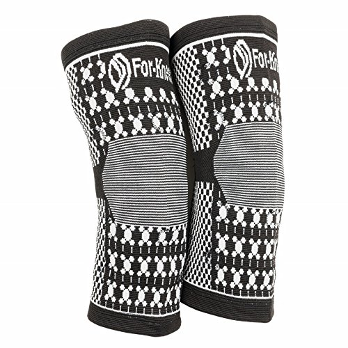 For-Knees Magnetic Compression Knee Brace Support Sleeve - Natural Soft Cotton - Latex Elastic Fabric with Magnets. For Sports, Sprains Strains Arthritis Sore Knees Recovery