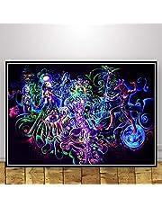 Aya611 abstracte schilderijen blacklight psychedelische kunst trippy poster moderne afbeeldingen op canvas voor woonkamer decoratie voor thuis 50 x 70 cm zonder lijst