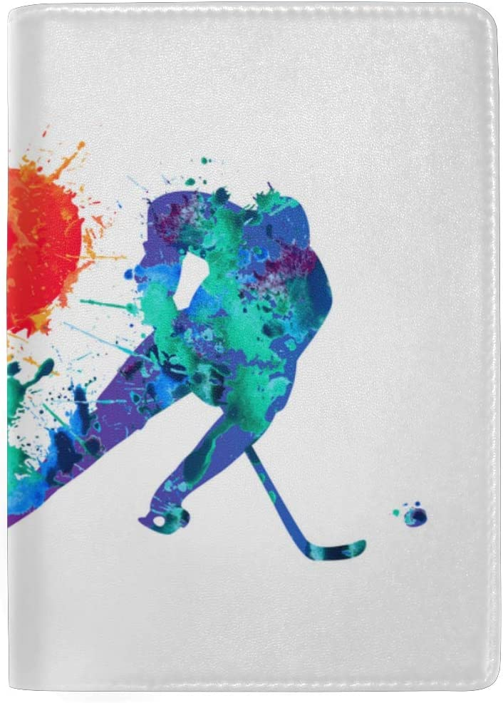 I Love Sports Colorful Splash Paint Blocking Print Passport Holder Cover Case Travel Luggage Passport Wallet Card Holder Made With Leather For Men Women Kids Family