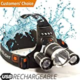 Headlamp - LED Head Torch - USB Rechargeable Headlamp Flashlight - Waterproof & Comfortable Headlight - Battery Powered Helmet Light - Ideal Head Lantern for Walking, Running, Camping & More