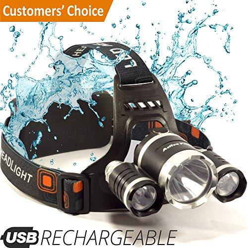 Camping Gear - Helmet Light - Headlamp - Led Headlamp Rechargeable - USB Flashlight - Waterproof Head Lamp - Work Headlamp - for Walking, Running, Camping