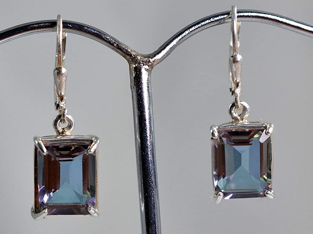 12 CT Color Changing Alexandrite Sterling Silver Dangling Earrings
