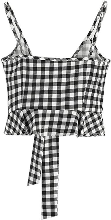 Lookatool Top Camisole Shirt Vest Women Casual Sleeveless Knot Front Gingham Cami