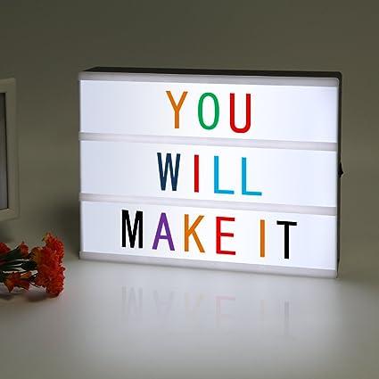 LitEnergy A4 caja de luz cinematográfica con luz LED y letras de 90 colores: Amazon.es: Bricolaje y herramientas