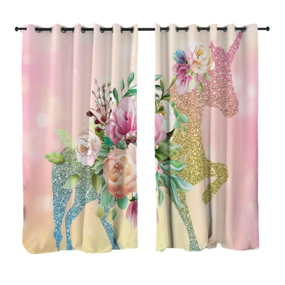 Sleepwish Kids Girls Magical Room Window Curtain Unicorn Curtains Panels Window Treatment Pink Flowers Twinkle Animal Drapes 1 Panel, 52x84 Inch