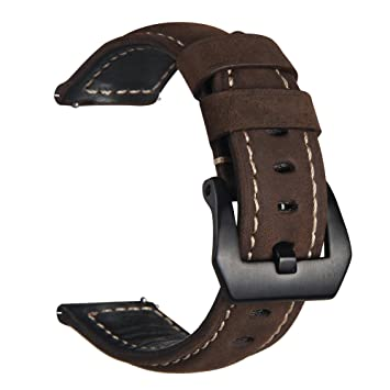 Gear S3 Watch Bands, V-MORO Genuine Leather Replacement Smart Watch Band Bracelet Straps for Gear S3 Frontier and Gear S3 Classic Smart ...