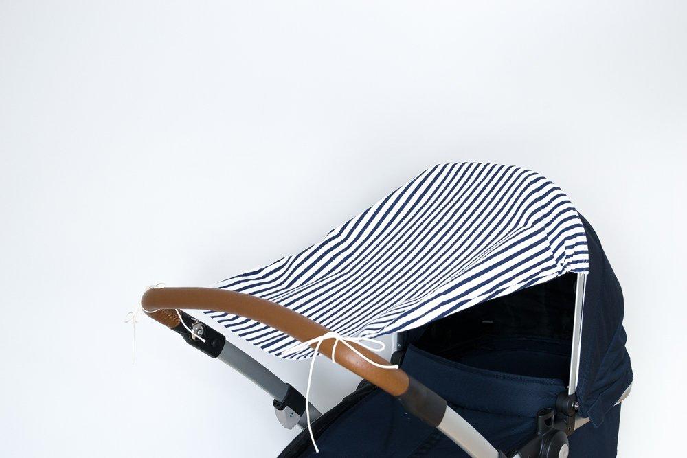 Breite oben: 50 cm Breite unten: 32 cm L/änge: 65 cm KraftKids Sonnensegel Streifen dunkelblau UV-Sonnenschutz f/ür jeden Kinderwagen handgen/äht und luftdurchl/ässig