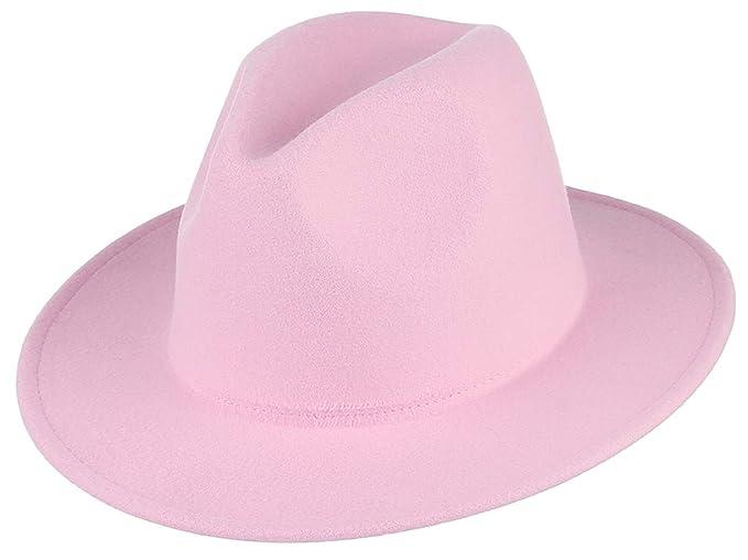 e0275c80950f6 Jelord Women Fedora Felt Hat Crushable Wide Brim Trilby Panama Hat ...