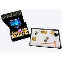 Mini Zen Garden and LED Fountain Kit, Desk/Table Top, Buddha, Bridge, Stones, Rake, Relaxation, Meditation, Feng Shui, Sand, Tray,