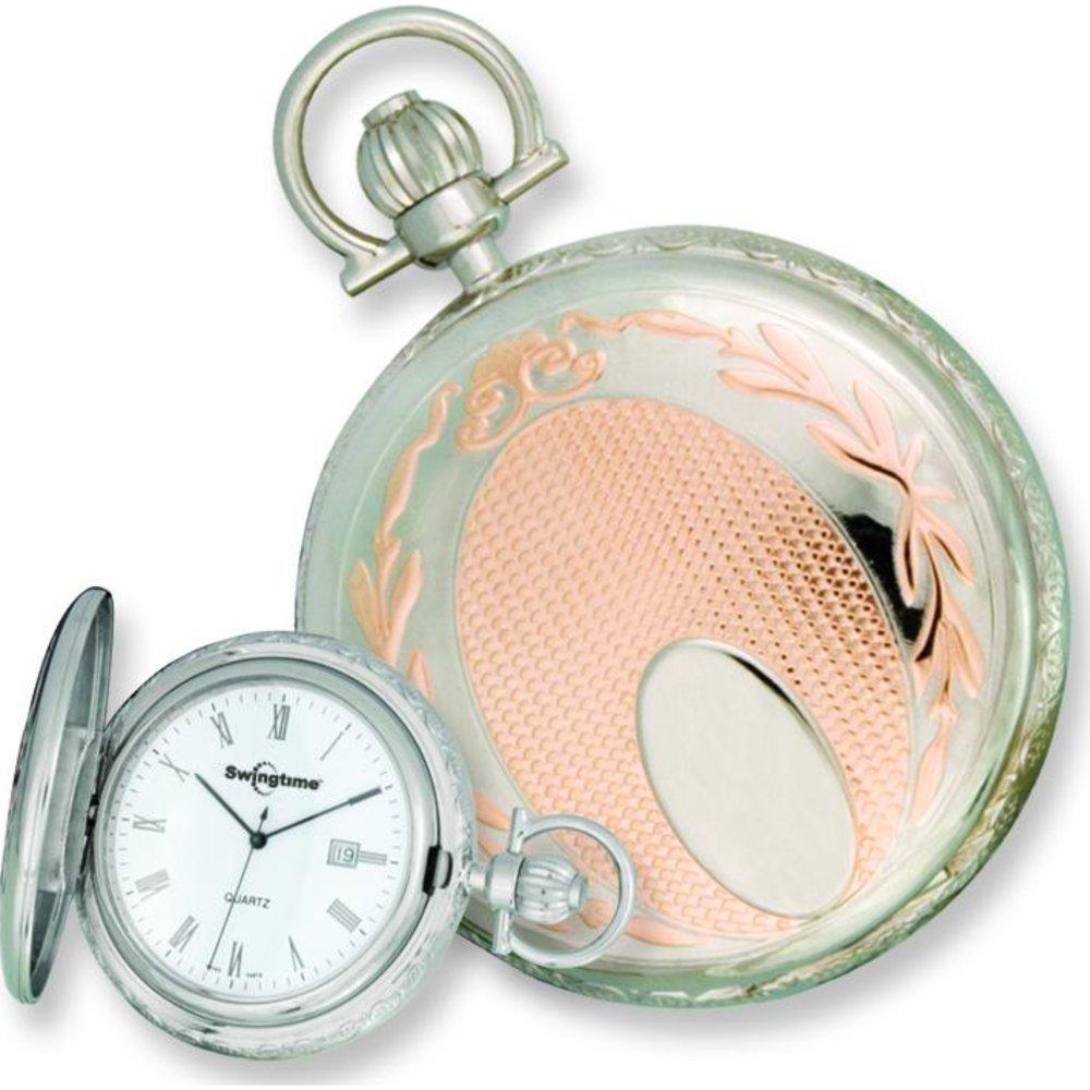 e07c06a3a Amazon.com: Swingtime Rose Gold & Chrome Plated Pocket Watch: Clothing