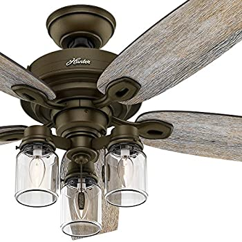 Hunter Fan 52 Regal Bronze Ceiling Includes Three Light Fitter With Clear Glass 5 Blade Certified Refurbished