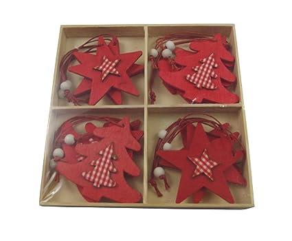Decorazioni In Legno Per Albero Di Natale : Decorazioni per albero di natale stelle e alberi rossi di legno