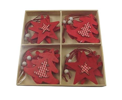 Decorazioni Per Casa Di Natale : Decorazioni per albero di natale stelle e alberi rossi di legno