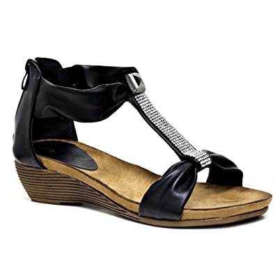 21ffa318a679 Impressionz Womens Ladies mid Heel Footbed Wedge Sandals New Gladiator  Diamante Summer Dress Evening Strappy Sandals Shoes Size 3-8  Amazon.co.uk   Shoes   ...