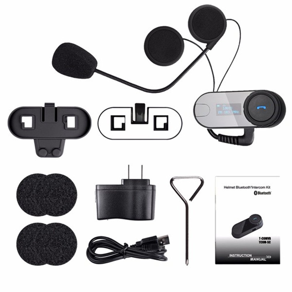 1 Pack Motorcycle Bluetooth Intercom Headset T-COMSC 800M Full Duplex Wireless Motorcycle Interphone Headphones for Motorbike Skiing Helmet Talk with LCD Screen FM Radio