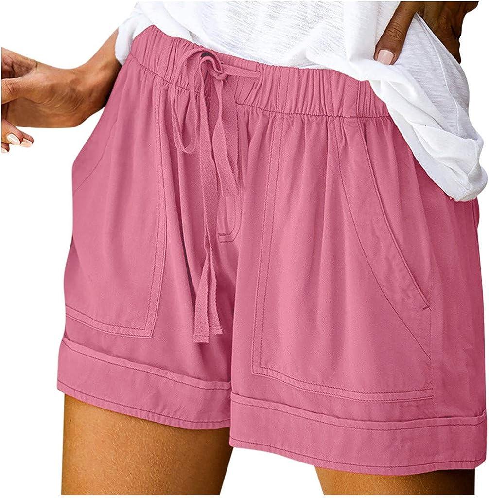 SHOBDW Pantalones Cortos elásticos de la Playa de la impresión de la Raya de Las Mujeres del Verano de la Cintura Alta Pantalones Cortos Flojos de la Playa del Dril de algodón