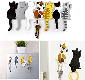 Comidox Cute Multifunction Cat Magnetic Refrigerator Sticker Fridge Magnet Hanging Hook 2 in 1 Black cat /white cat / three cats 3pcs