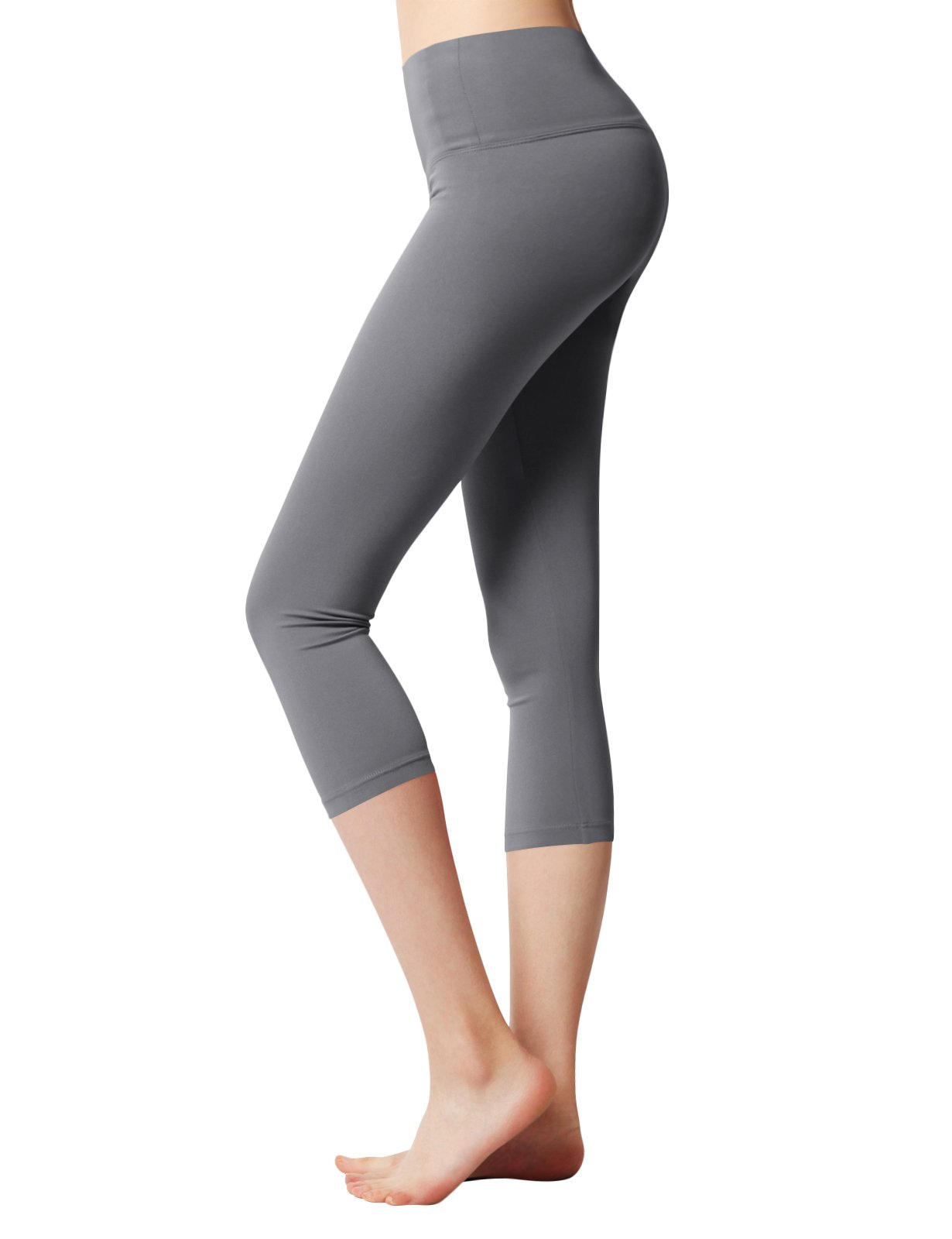 ACTICLO Women's Capris - Body Slimming Compression for Yoga, Fitness & Gym with Hidden Pocket Gray XX-Large