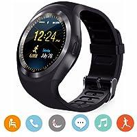 Smart Watch, CanMixs Y1 Android reloj inteligente con ranura para tarjeta SIM, pulsera de actividad inteligente para Xiaomi / Huawei / Samsung / HTC Android IOS teléfonos inteligentes hombre y mujer niños(Negro)