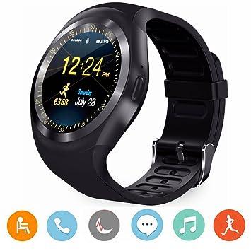 CanMixs Montre Y1 Smart Watch Montre Connectée Bluetooth Écran Tactile Rond avec Fente pour Carte SIM