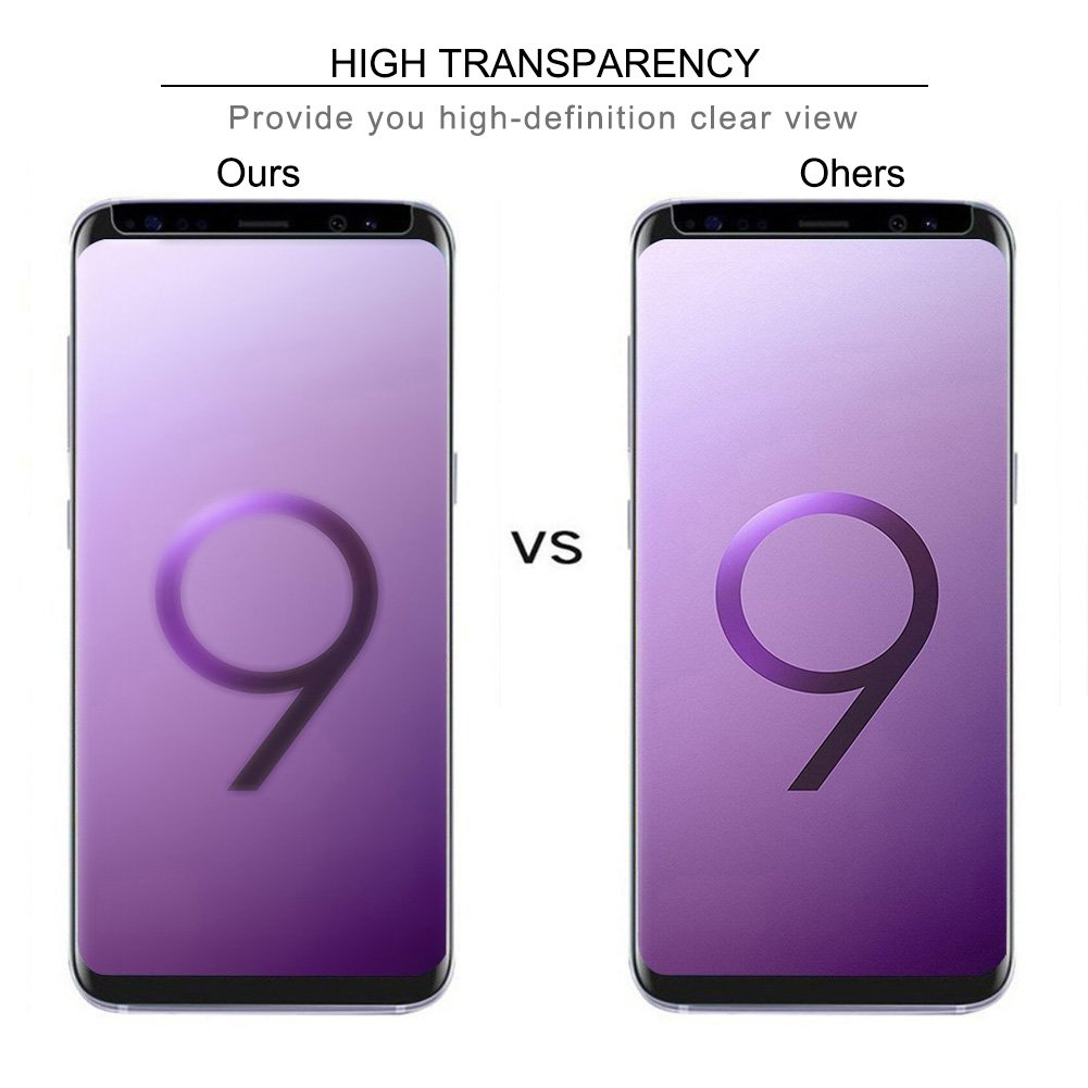 AROC Samsung Galaxy S9 Plus Screen Protector, HD Clear Tempered Glass Screen Film 0.3MM Slim and 9H Hardness Protective Film [Anti-Scratch] [Anti-fingerprint] [Bubble Free] (2Pack)