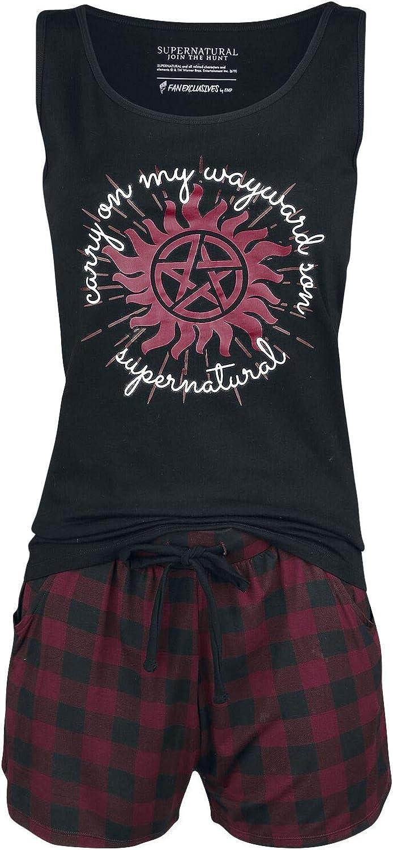 Supernatural Carry On Mujer Pijama Negro/Rojo, ,