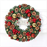 VISUNION Christmas Wreath, Merry Christmas Decorated,Christmas Rattan Connect Power Lighting Wreath Pineal Cherry Green Decoration,12 Inch