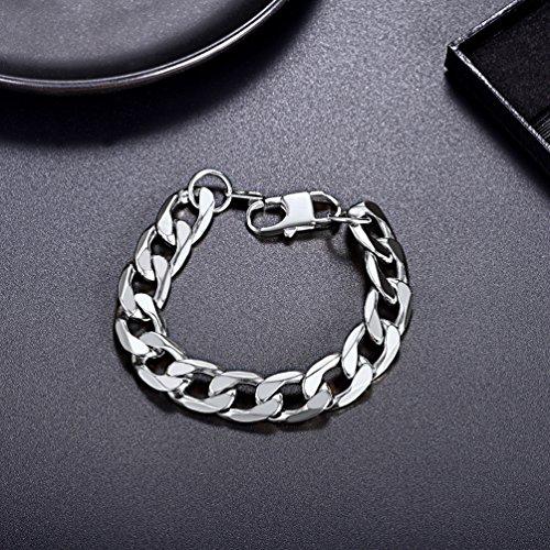 35571a123a3 Bracelet Homme Acier PROSTEEL Gouremttes Hawaï Serrée Single Lien Bijoux de  Poignet Garçon 13mm de Large Cadeau pour Anniversaire Fête Noël  (Argenté 19cm)  ...