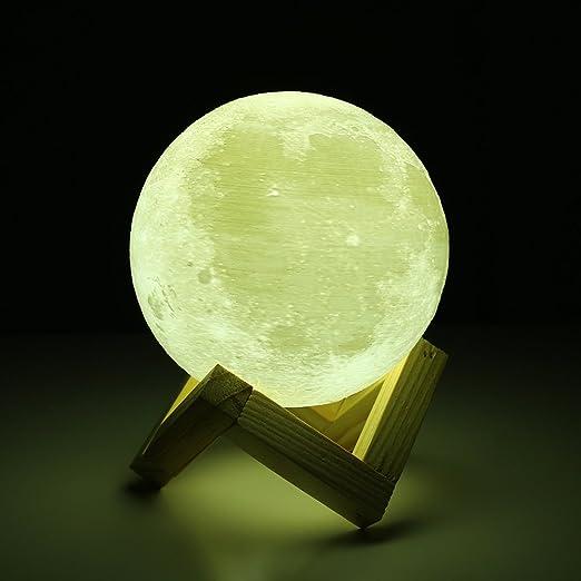 18cm Diameter 3D Lunar Moon Lamp, 3D Printed, Touch Control, Moonlight, Warm