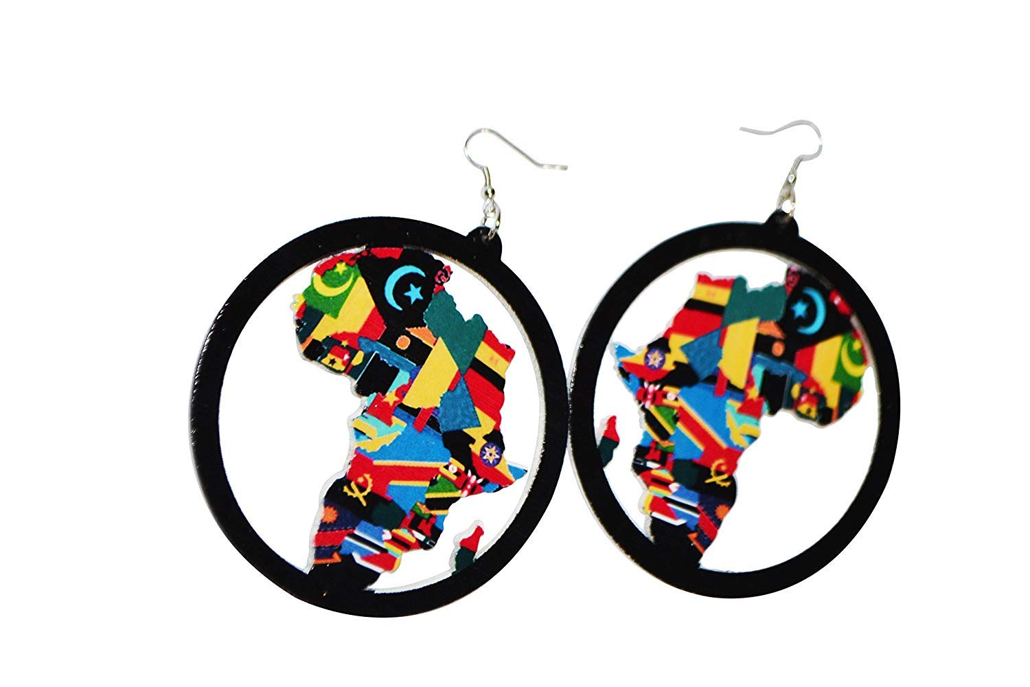 Aijian African Map Wooden Earrings (Color-A)