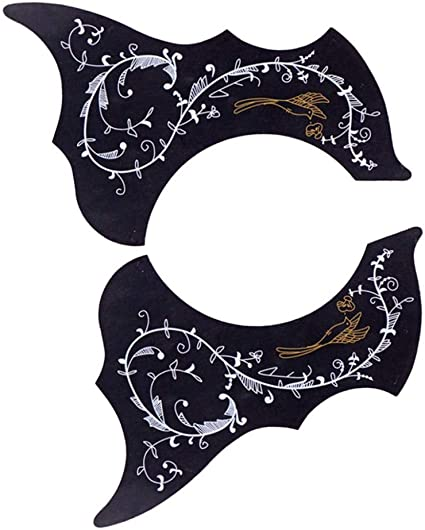 Black Right /& Left Hand SDENSHI 2pcs Acoustic Guitar Pickguard Anti-Scratch Guard Plate Perfect Replacement Self Adhesive Flower Shape Pick Guards