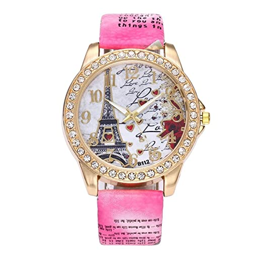 Logobeing Reloj de Pulsera de Cuarzo Cuero Vintage Paris Torre Eiffel Reloj de Mujer Barato de