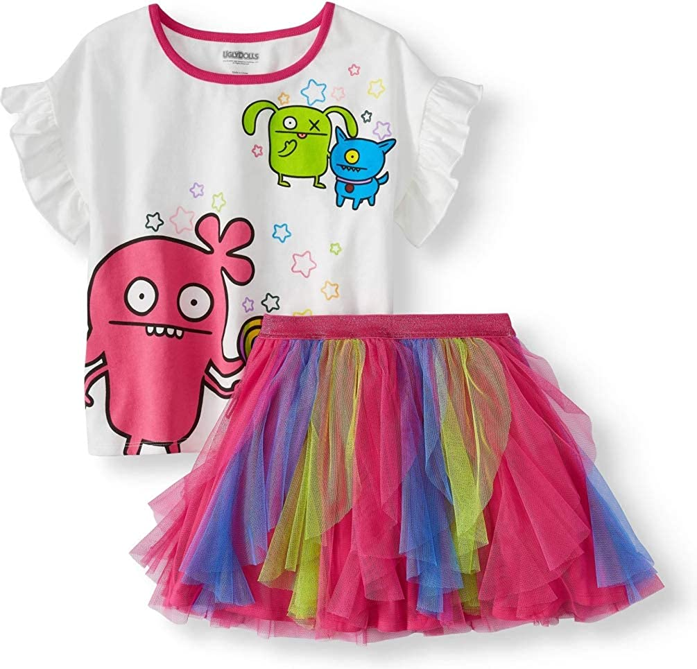 Girls Ugly Dolls Ruffled Tee and Colorblock Tulle Mesh Tutu Skirt 2-Piece Outfit
