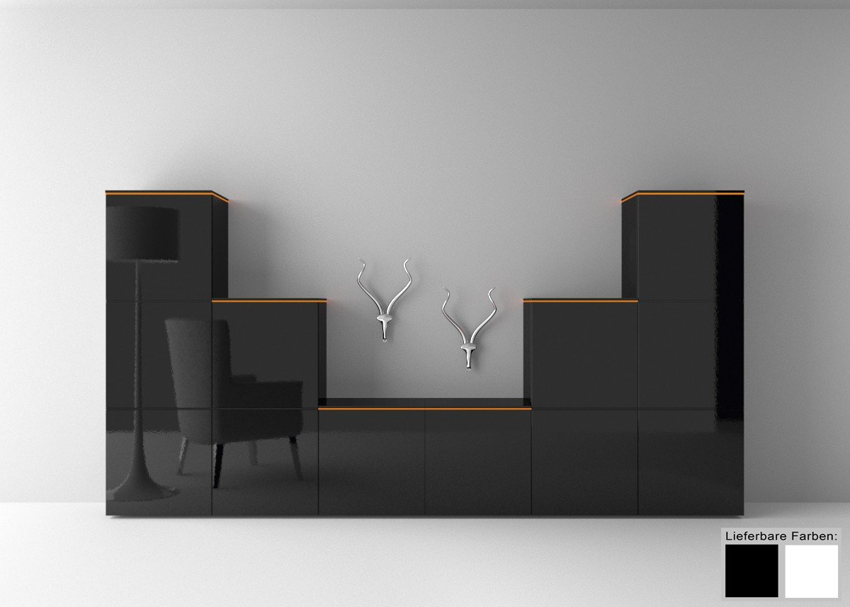 dreams4home wohnkombination square wohnwand regalsystem. Black Bedroom Furniture Sets. Home Design Ideas